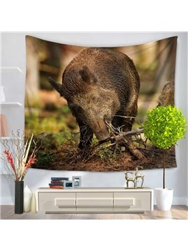 A Boar Eating Branches and Foraging Pattern Decorative Hanging Wall Tapestry
