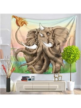 Creative Elephant with Many Noses and White Ivory Decorative Hanging Wall Tapestry