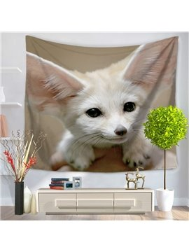 White Wildlife Fennec Fox Acting Cute Pattern Decorative Hanging Wall Tapestry