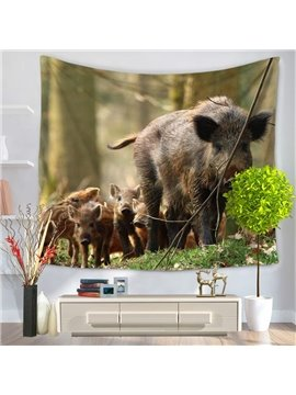 Plenty of Boars Walking Through Woods Pattern Decorative Hanging Wall Tapestry