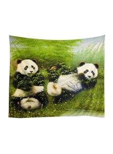 Cute Panda Eating Bamboos Pattern Decorative Hanging Wall Tapestry