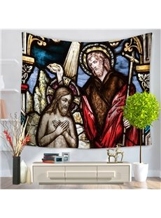 The Baptism of Christ Pattern Religious Style Decorative Hanging Wall Tapestry