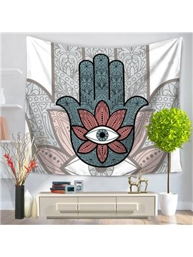 Floral Eyes and Palm's Shadow Exotic Style Decorative Hanging Wall Tapestry
