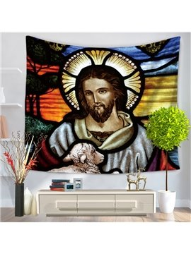 Jesus and A Lamb Pattern Religious Style Decorative Hanging Wall Tapestry