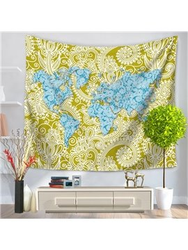 World Map and Yellow Floral Pattern Ethnic Style Decorative Hanging Wall Tapestry