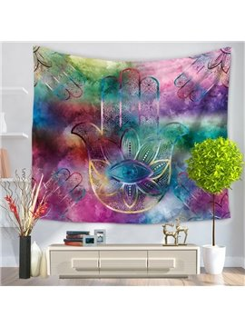 Colorful Palms and Floral Eye Pattern Ethnic Style Decorative Hanging Wall Tapestry