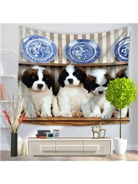 Four Cute Puppy Saint Bernard Dogs Pattern Decorative Hanging Wall Tapestry