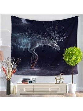 Melting Transparent Wapiti Under the Moonlight Decorative Hanging Wall Tapestry