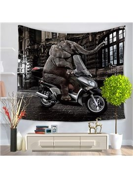Cool Elephant Riding Motorbike Under Night City Decorative Hanging Wall Tapestry