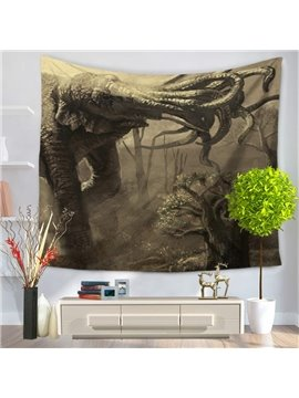 Foggy Forest and Elephant with Many Noses Pattern Decorative Hanging Wall Tapestry