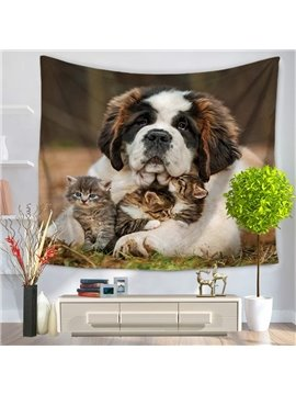 Saint Bernard Dog Hugging Cats Harmonious Pattern Decorative Hanging Wall Tapestry