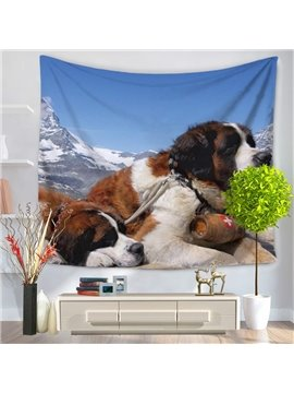 Two Saint Bernard Dogs Lying on the Mountain Pattern Decorative Hanging Wall Tapestry