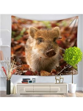 Little Wild Boar Foraging in Woods Pattern Decorative Hanging Wall Tapestry