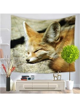 Yellow Wildlife Fennec Fox Sleeping on Field Decorative Hanging Wall Tapestry