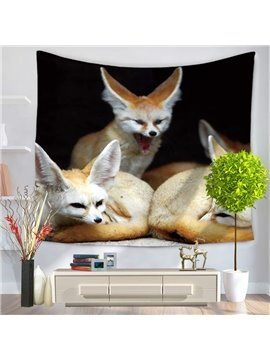 Three Yellow Wildlife Fennec Fox Black Decorative Hanging Wall Tapestry