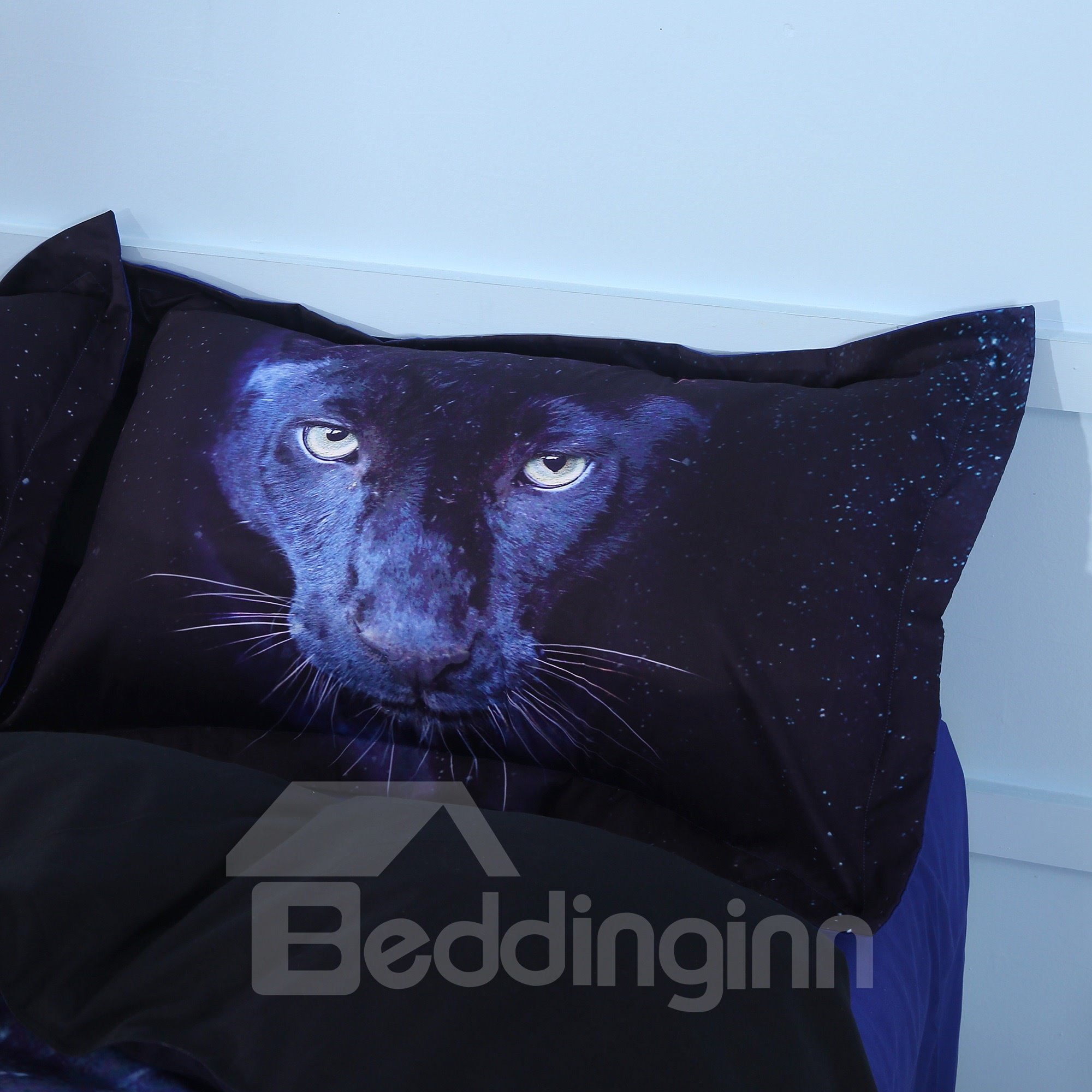 Onlwe Wild Panther Printed Cotton 4-Piece Black 3D Bedding Sets/Duvet Covers