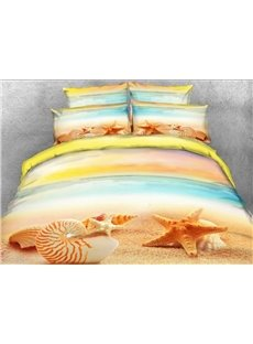 3D Starfish and Conch on Sand Printed Cotton 4-Piece Bedding Sets/Duvet Covers