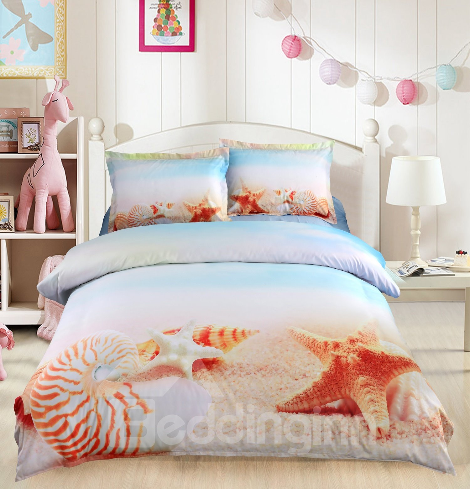 Onlwe 3D Starfish and Conch on Sand Printed 4-Piece Bedding Sets/Duvet Covers
