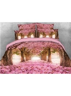 3D Pink Blossoming Tree Alley Printed Cotton 4-Piece Bedding Sets/Duvet Covers