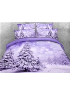 3D Snowy Trees Printed Cotton 4-Piece Bedding Sets/Duvet Covers