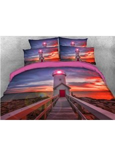 3D Lighthouse at Sunset Printed Cotton 4-Piece Bedding Sets/Duvet Covers