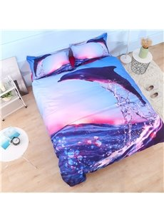 3D Dolphin Jumping at Sunset Printed Cotton 4-Piece Bedding Sets/Duvet Covers