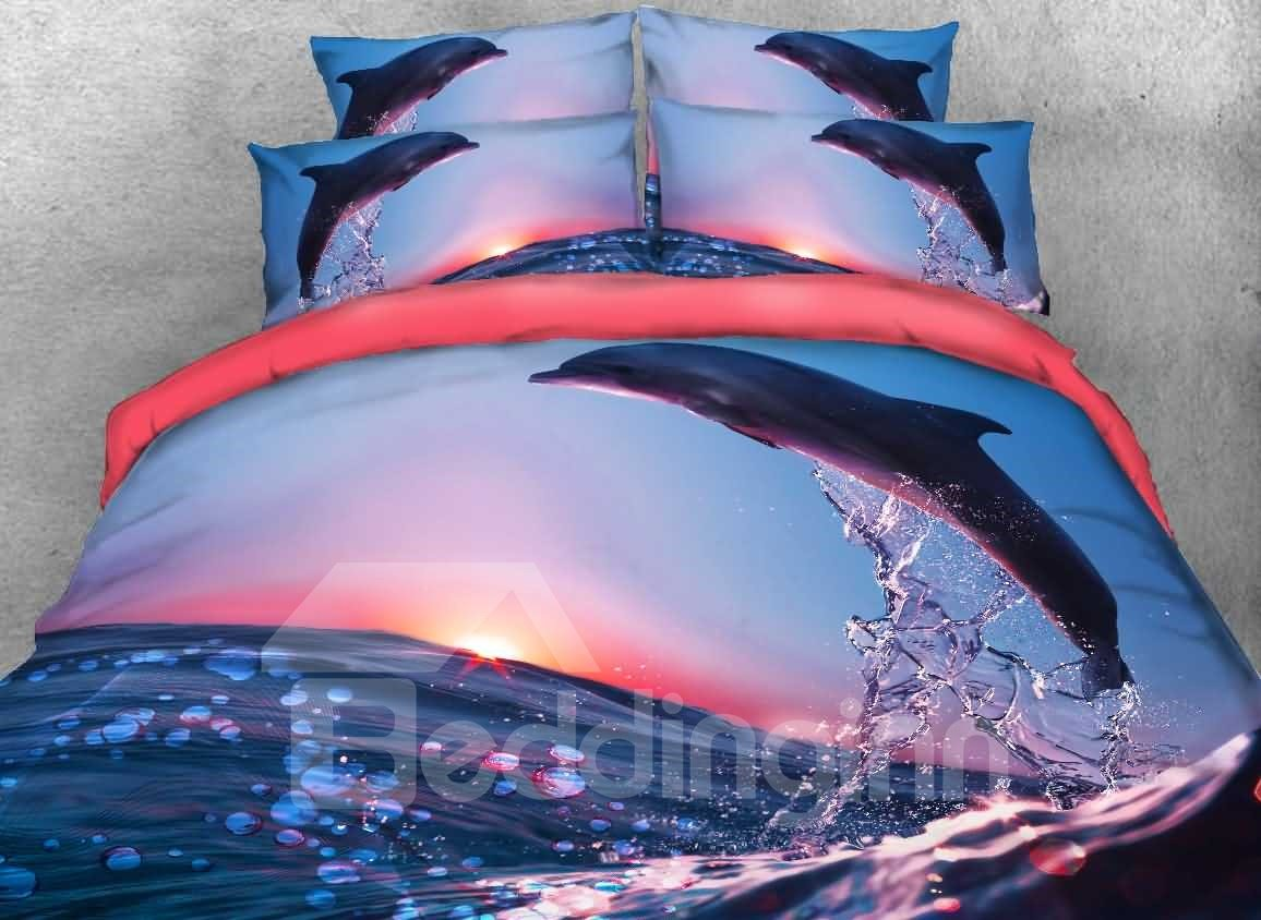 Onlwe Dolphin Jumping at Sunset Printed Cotton 3D 4-Piece Bedding Sets/Duvet Covers