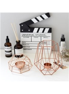 Steel Art Rose Gold Color Candle Holder Home Decor