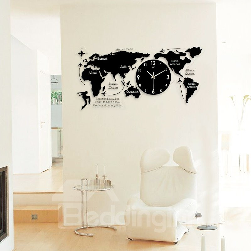Creative black world map pattern acrylic battery hanging wall clock gumiabroncs Image collections