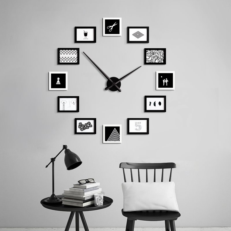 47×47in Photo Frames Creative Style Board Battery Hanging Wall Clock