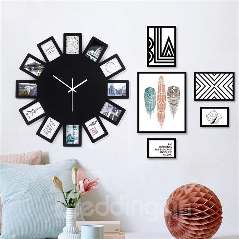 22x22in Black Photo Frames Round Dial Wood Battery Hanging Wall Clock