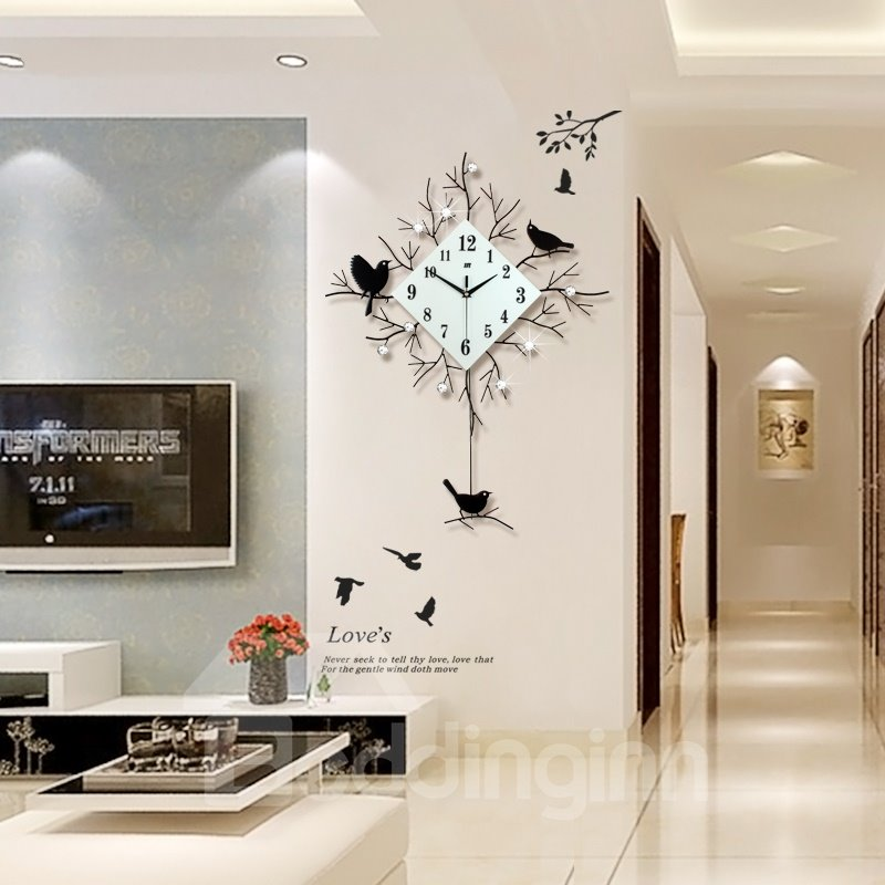 30×22in Golden/Black Branches and Birds Iron and Diamond Battery Eco-friendly Wall Clock