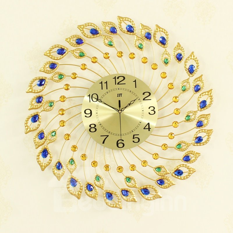 26*26 In Golden Dial Decorated by Peacock Feathers Iron Battery Hanging Wall Clock
