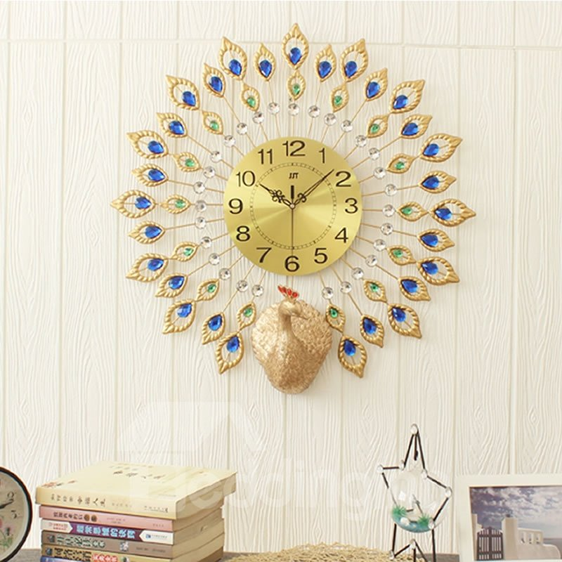 21in Peacock Pattern Round Iron and Diamond Battery Mute Hanging Wall Clock