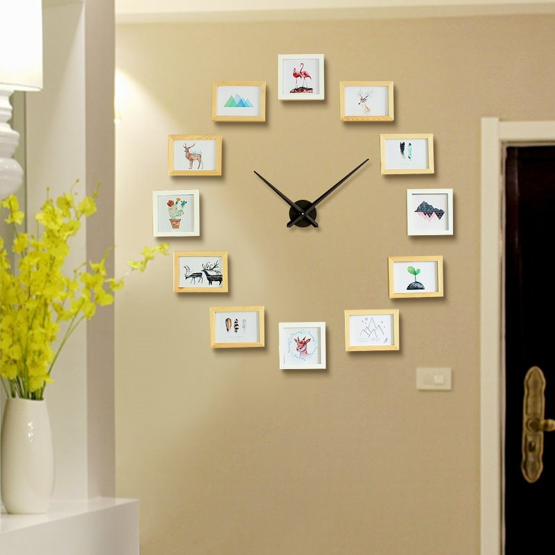 47×47in Photo Frames Creative Style Wooden Board Battery Hanging Wall Clock