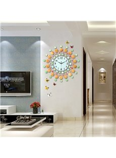 24×24in Colorful Diamonds Embellishing Round Dial Iron Battery Hanging Wall Clock