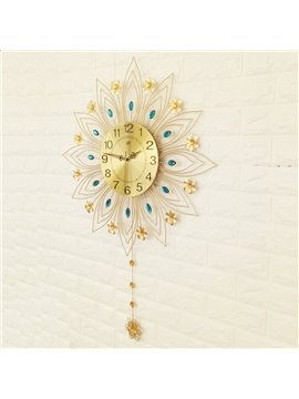35×24in Gloden Leaves and Flowers Iron and Diamond Battery Mute Hanging Wall Clock
