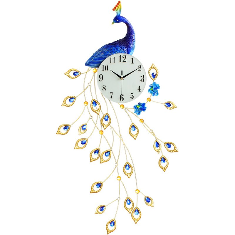 45×22in Peacock Pattern Iron and Diamond Battery Mute Hanging Wall Clock