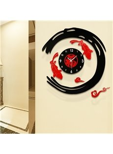 27×28in Fishes and Chinese Character Acrylic Eco-friendly and Waterproof Battery Hanging Wall Clock