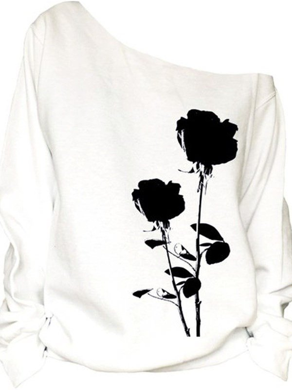 Womens 3D Print Long Sleeve Black Rose Pullover Fleece Hoodie