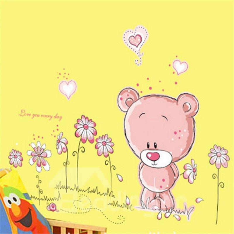 Durable Waterproof Bears and Flowers PVC Kids Room Wall Stickers