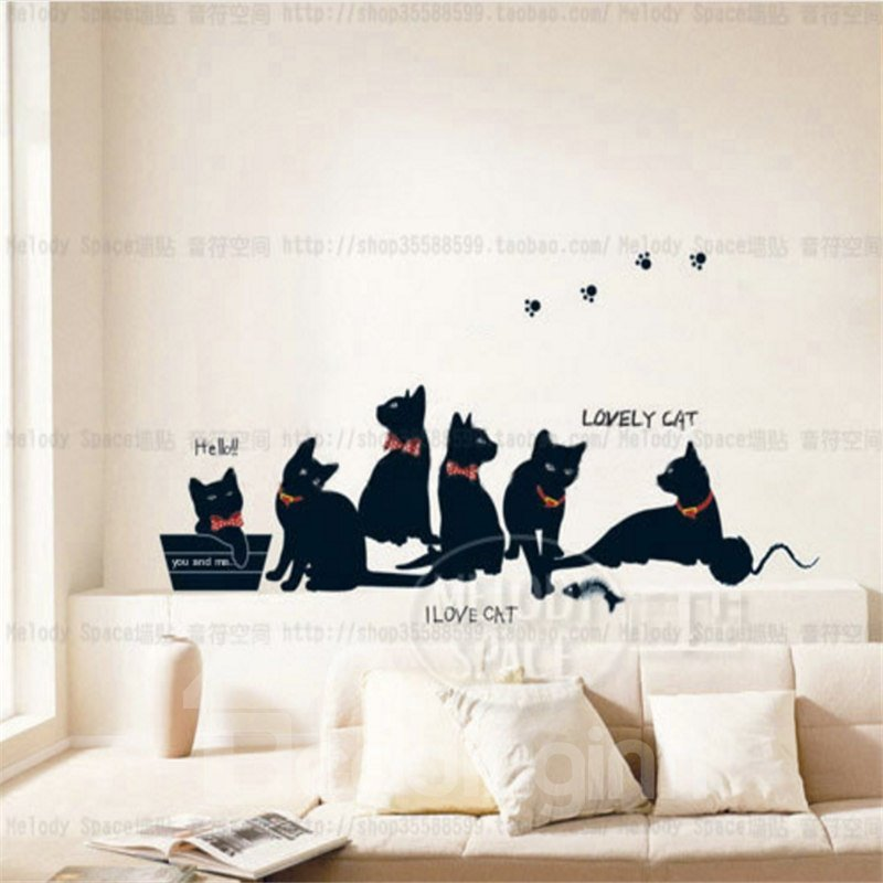 Durable Waterproof Black Cats PVC Kids Room Wall Stickers