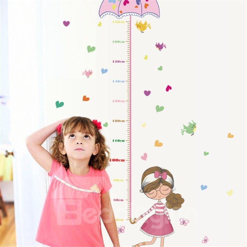 Durable Waterproof Umbrella and Cartoon Girl PVC Kids Room Height Ruler Wall Stickers
