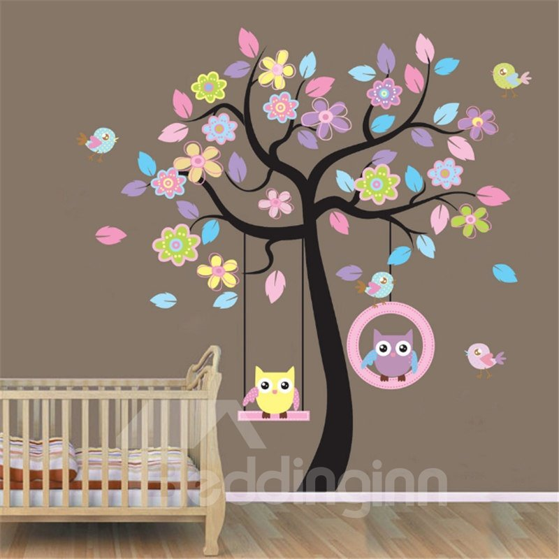 Durable Waterproof Colorful Tree and Owls PVC Kids Room Wall Stickers