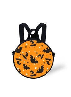 Round 3D Witch Hat Halloween Bat Pattern School Bag Shoulders Backpack