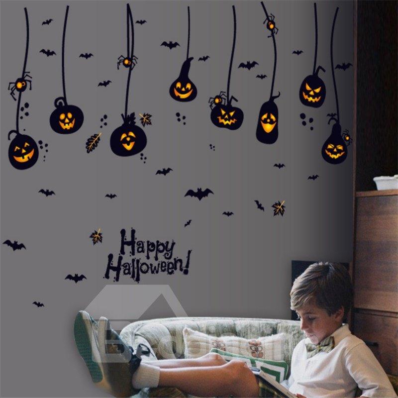 Durable Waterproof Hanging Pumpkin Devils PVC Halloween Kids Room Wall Stickers