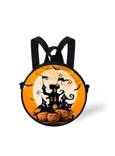 Round 3D Castle Pumpkin Pattern School Bag Shoulders Backpack