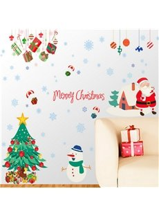 Durable Waterproof Christmas Tree and Santa PVC Kids Room Wall Stickers