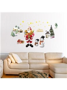 Durable Waterproof Santa and House PVC Kids Room Wall Stickers