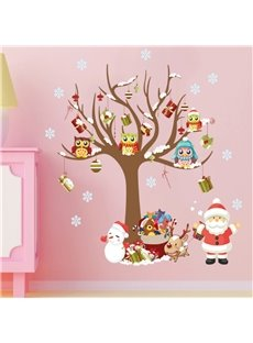 Durable Waterproof Santa and Christmas Tree PVC Kids Room Wall Stickers